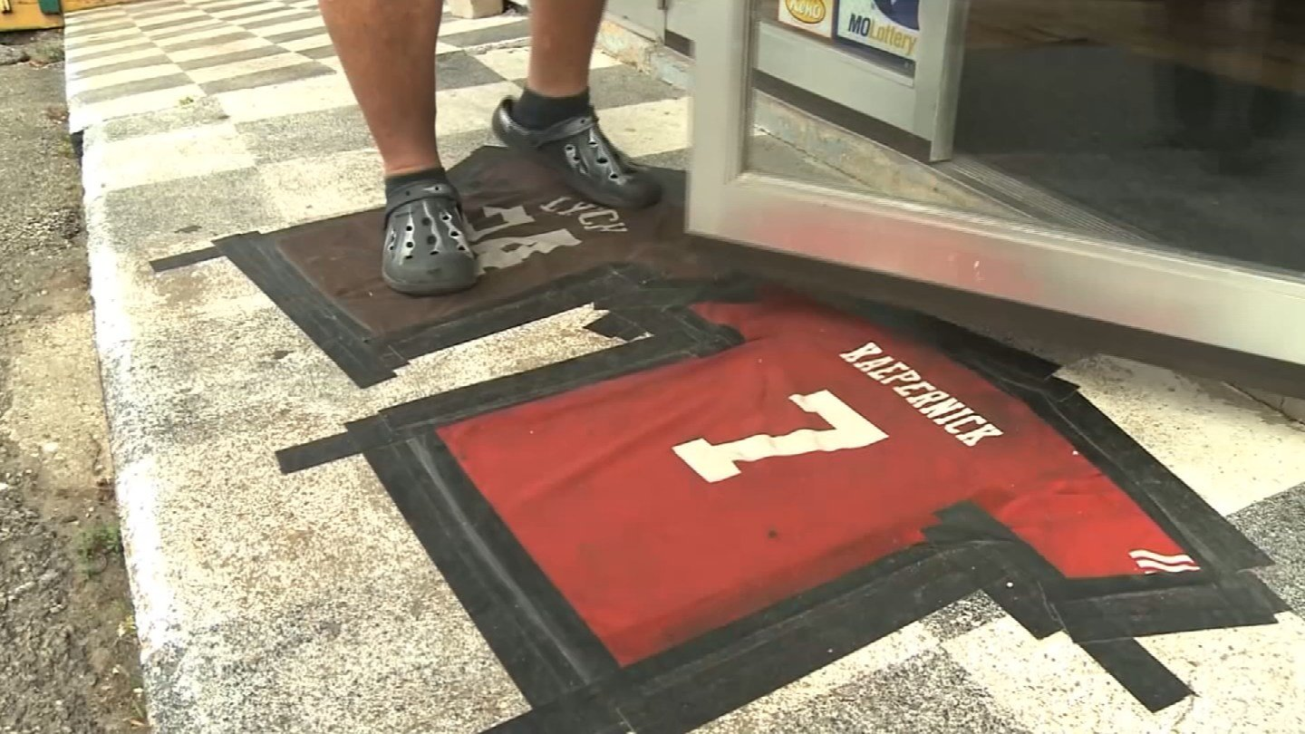 A Missouri bar owner is defending his use of two NFL jerseys, including Colin Kaepernick's, as doormats outside his building's front door. (CNN)