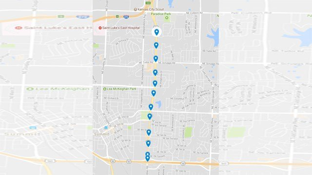 Rhythm initially installed In|Sync at 12 intersections along the 2.5-mile route in 2009, according to Sawyer Breslow, sales engineer for Rhythm Engineering. (Google Maps)