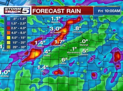 The grand total will be impressive with some areas picking up over 3 inches in their rain gauge by Friday afternoon:  There are some bulls-eyes that suggest as much as 6 inches total. (KCTV5)