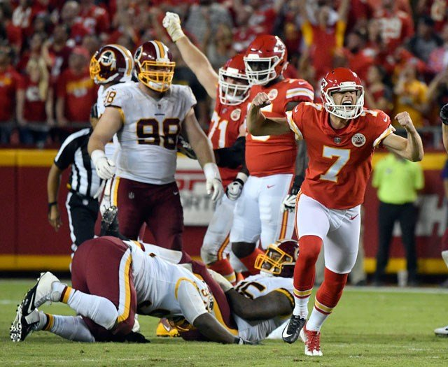 Kansas City Chiefs kicker Harrison Butker (7) celebrates his go-ahead field goal during the second half of an NFL football game against the Washington Redskins in Kansas City, Mo., Monday, Oct. 2, 2017. The Kansas City Chiefs won 29-20. (AP)