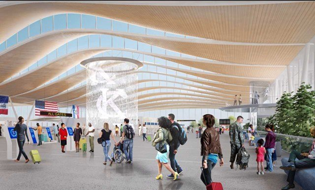 The two-story fountain in the center of the terminal would include technology to project messages and colors on the cascading water to welcome travelers. (Edgemoor)