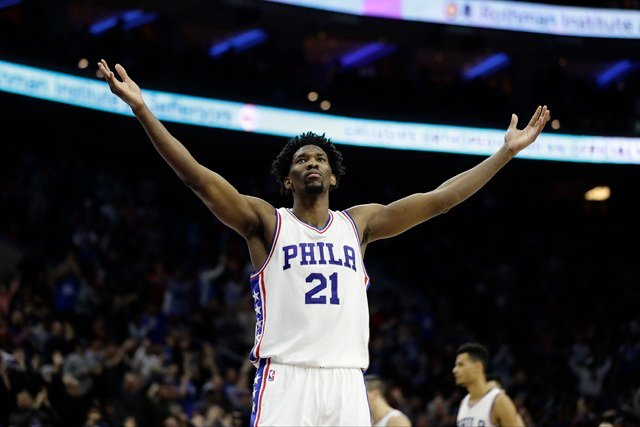 It was Embiid's first full practice since having surgery March 24 for a meniscus tear in his left knee. He hasn't played in a game since Jan. 27. (AP)
