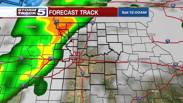 As the evening continues, showers are expected to redevelop with some producing heavy rains. Storms are expected to continue into Saturday morning. (KCTV5)