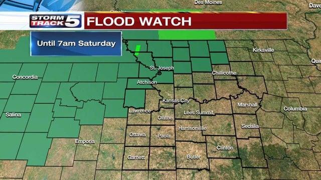 A Flood Watch is in effect until 7 a.m. on Saturday for northwestern Missouri and northeastern Kansas. (KCTV5)