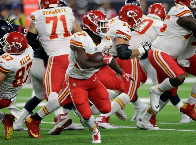 Hunt had 29 carries for 107 yards on Sunday night as the Chiefs (5-0) remained undefeated with a 42-34 win over the Houston Texans. (AP)