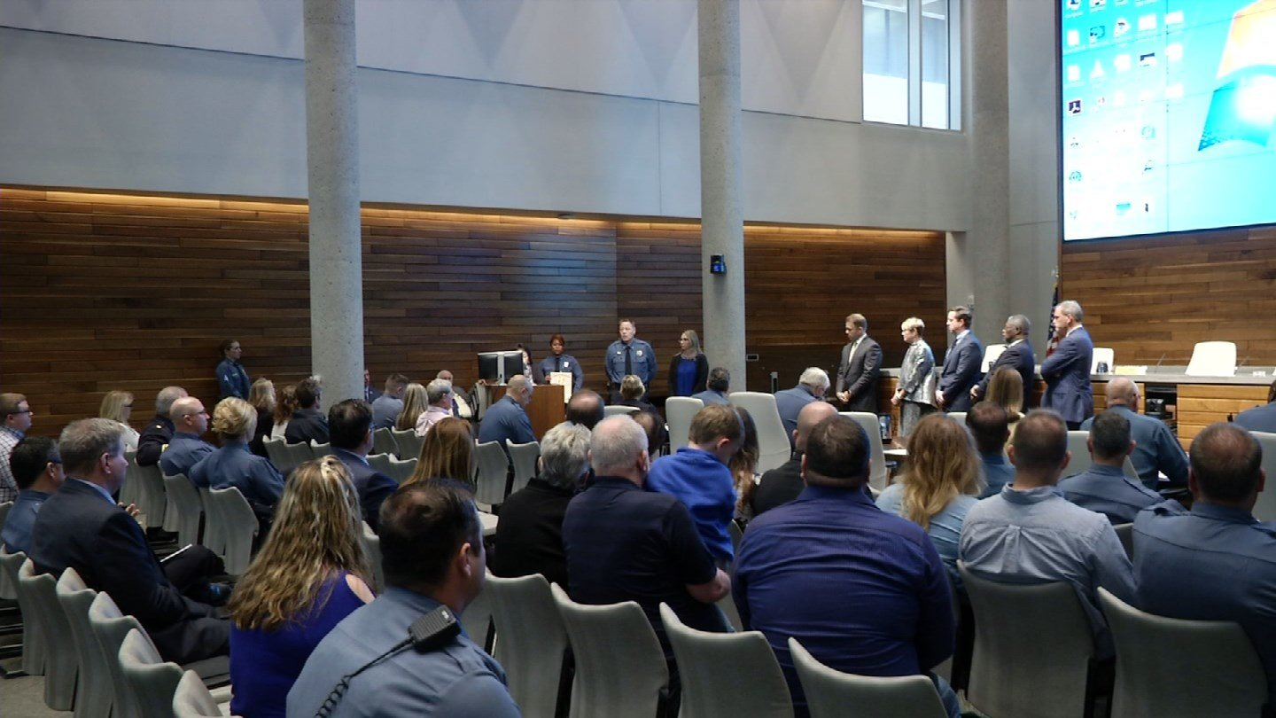 During a Police Board of Commissioners meeting, 11 people were acknowledged Tuesday as the newest group to enter into training for the 911 dispatch call center for Kansas City.(KCTV5)