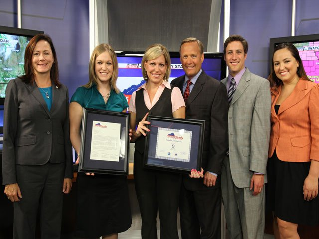 Julie Adolphson, meteorologist in charge of National Weather Service, Audra Hennecke, meteorologist of National Weather Service, Katie Horner, Gary Amble, Tom Wachs and Iris Hermosillo