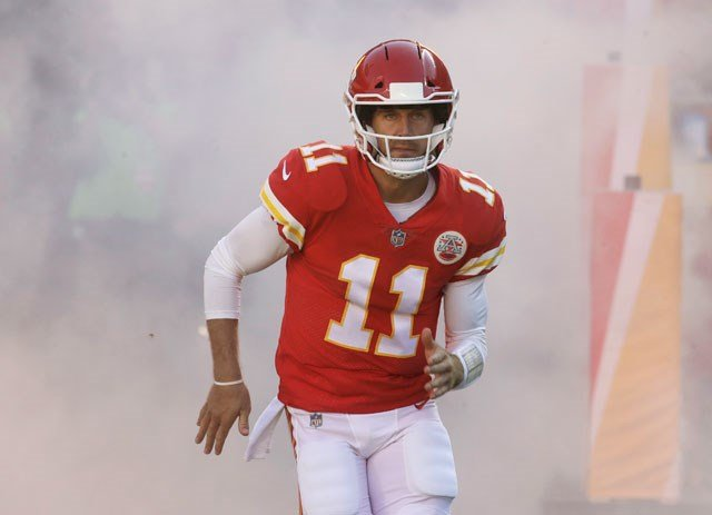"""""""I wish I could tell you,"""" Alex Smith said, when asked about the string of 12 straight division wins, which the Chiefs hope to push to 13 when they visit Oakland on Thursday night. (AP)"""