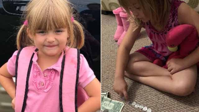 Sunshine Oelfke, 5, helps raise hundreds of dollars to pay for her classmates' milk. (JACKIE OELFKE)