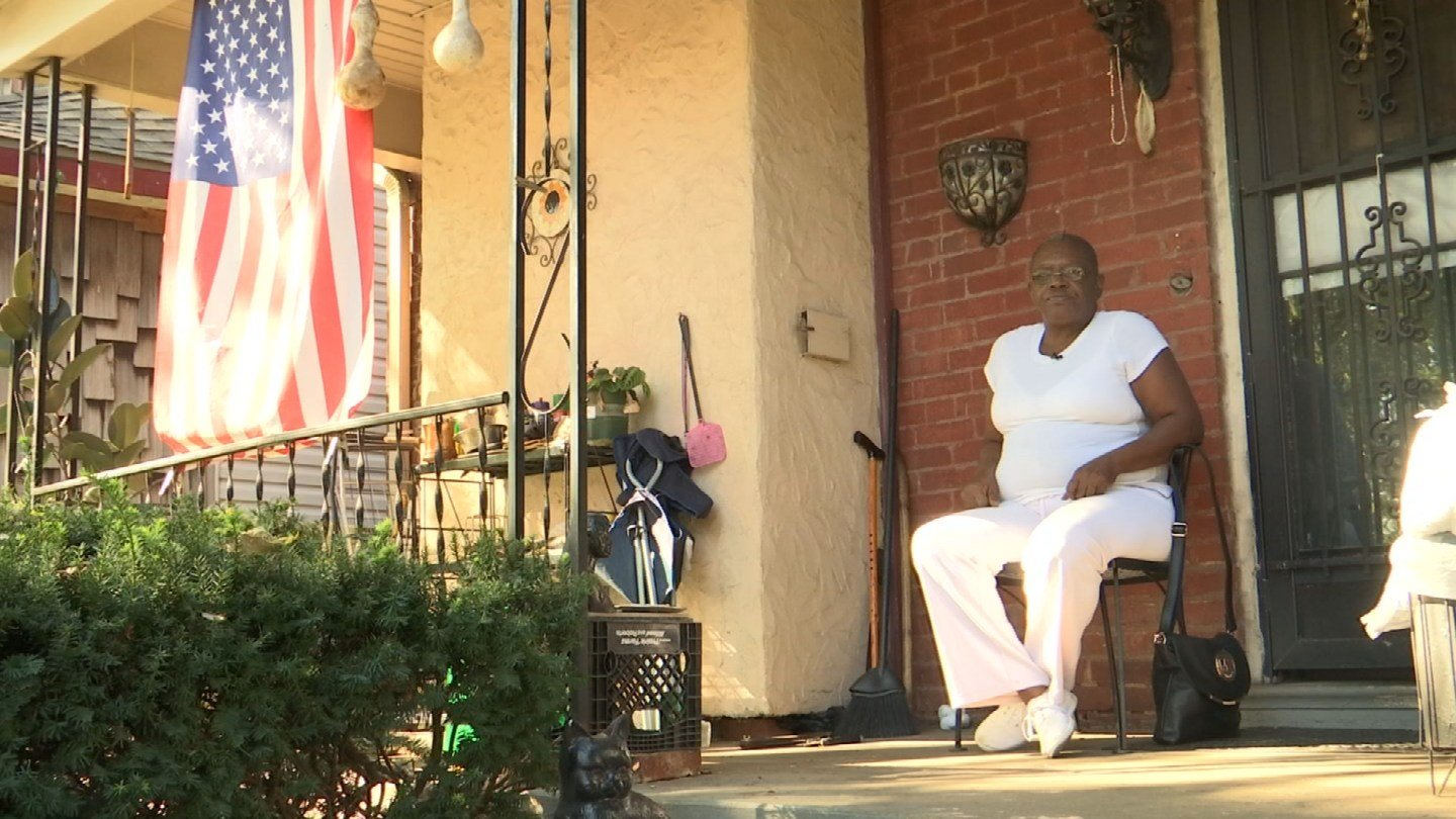 """""""It was very frightening. You didn't know it was coming,"""" said Mary Alexander took cover after more than 10 shots were fired just steps from her front door. (KCTV5)"""