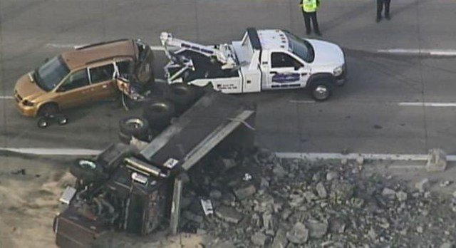 Authorities closed the northbound lanes of Interstate 35 near the Bond Bridge Friday morningafter a dump truck collided with another vehicle. All lanes are back open now.(KCTV5)