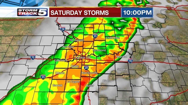 Storms are expected to make a sweep through areas south and east of Kansas City through the evening. (KCTV5)