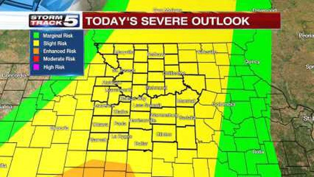Northeastern Kansas and Northwestern Missouri will be the first areas to see storms as they move in after 4 p.m. (KCTV5)