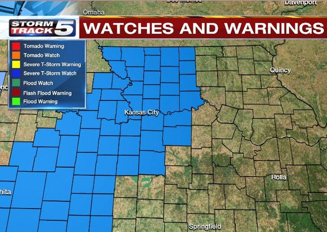 A Severe Thunderstorm Watch has been issued for several counties in the Kansas City area and runs until 10 p.m. (KCTV5)