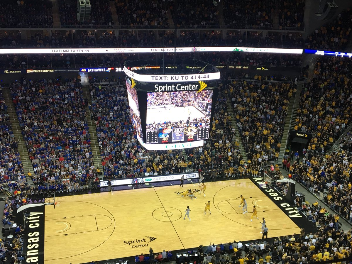 In a high-paced first half, the Tigers lead 44-40. Michael Porter, Jr. leads the Tigers with 15 points, while Jayhawks guard Devonte Graham leads all players with 17 points.(Nick Sloan/KCTV5 News)