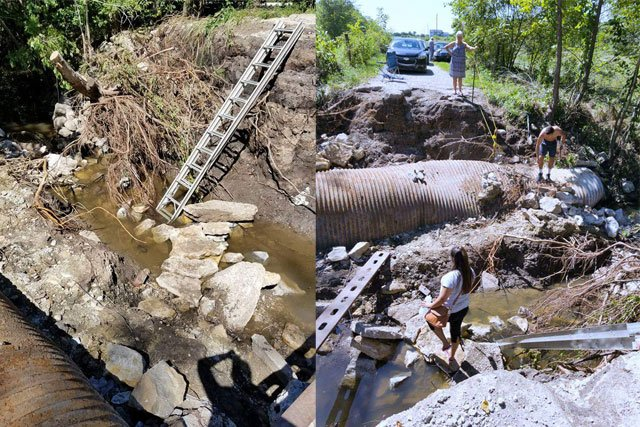 A Louisburg family says they must climb over rocks, roots and a crumbling road just to get home. (Natalie Davis/KCTV5 News)