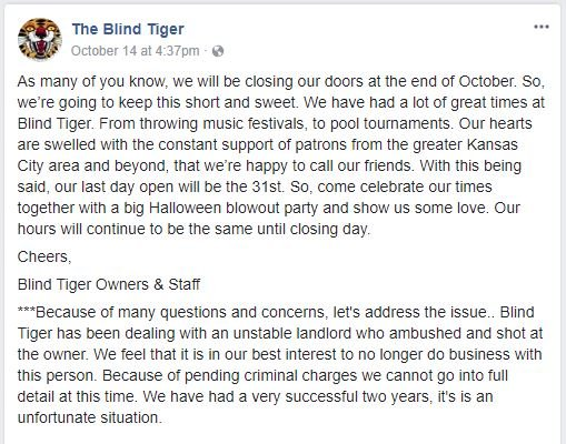 The announcement went up on Facebook earlier this month. (Via Facebook)