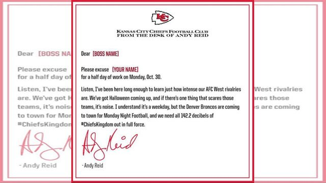 Through a hand-written letter, Chiefs head coach Andy Reid is helping fans get out of work early and bring the noise in the prime-time tilt. (Kansas City Chiefs)