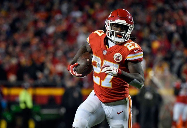Kansas City Chiefs running back Kareem Hunt (27) carries the ball during the first half of an NFL football game against the Denver Broncos in Kansas City, Mo., Monday, Oct. 30, 2017. (AP Photo/Ed Zurga)