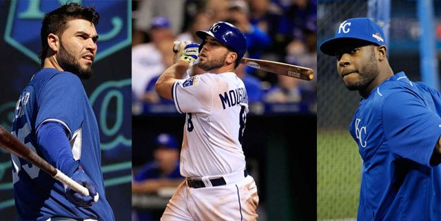 Kansas City Royals first baseman Eric Hosmer, third baseman Mike Moustakas and outfielder Lorenzo Cain were among nine free agents who have received $17.4 million qualifying offers from their teams. (AP)