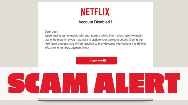 A new email scam tells Netflix users their account has been deactivated and tells recipients to click a link to reactivate it. (Twitter/Meredith)