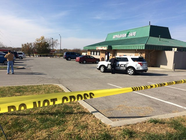 The shooting happened about 11:15 a.m. Thursday at 1512 NW Woods Chapel Rd. (Brett Hacker/KCTV5 News)