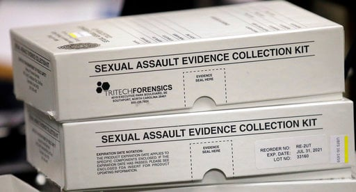 This Feb. 8, 2017, photo, sexual assault evidence collection kit are shown during committee meeting at the Utah State Capitol, in Salt Lake City. (AP Photo/Rick Bowmer)