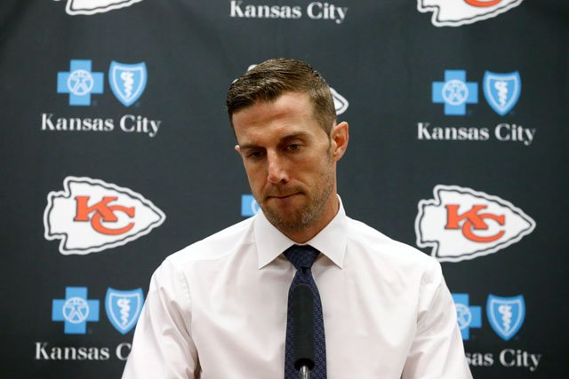 FILE - In this Nov. 5, 2017, file photo, Kansas City Chiefs' Alex Smith responds to a question during a news conference after a 28-17 loss to the Dallas Cowboys in an NFL football game, in Arlington, Texas. (AP Photo/Michael Ainsworth, File)