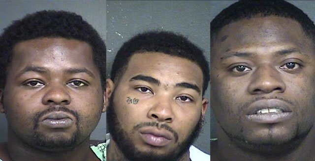 Aggravated assault charges were filed Monday against 27-year-old Ernest Jones (left); 25-year-old Arthur Mitchell; and 32-year-old Jason Trevillion. (Wyandotte County Jail)