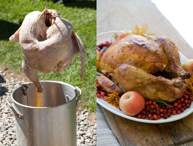 Fried or baked? It's the great turkey debate.  However, tossing your turkey into a deep fryer can be intimidating and dangerous. (Graphicstock/AP)