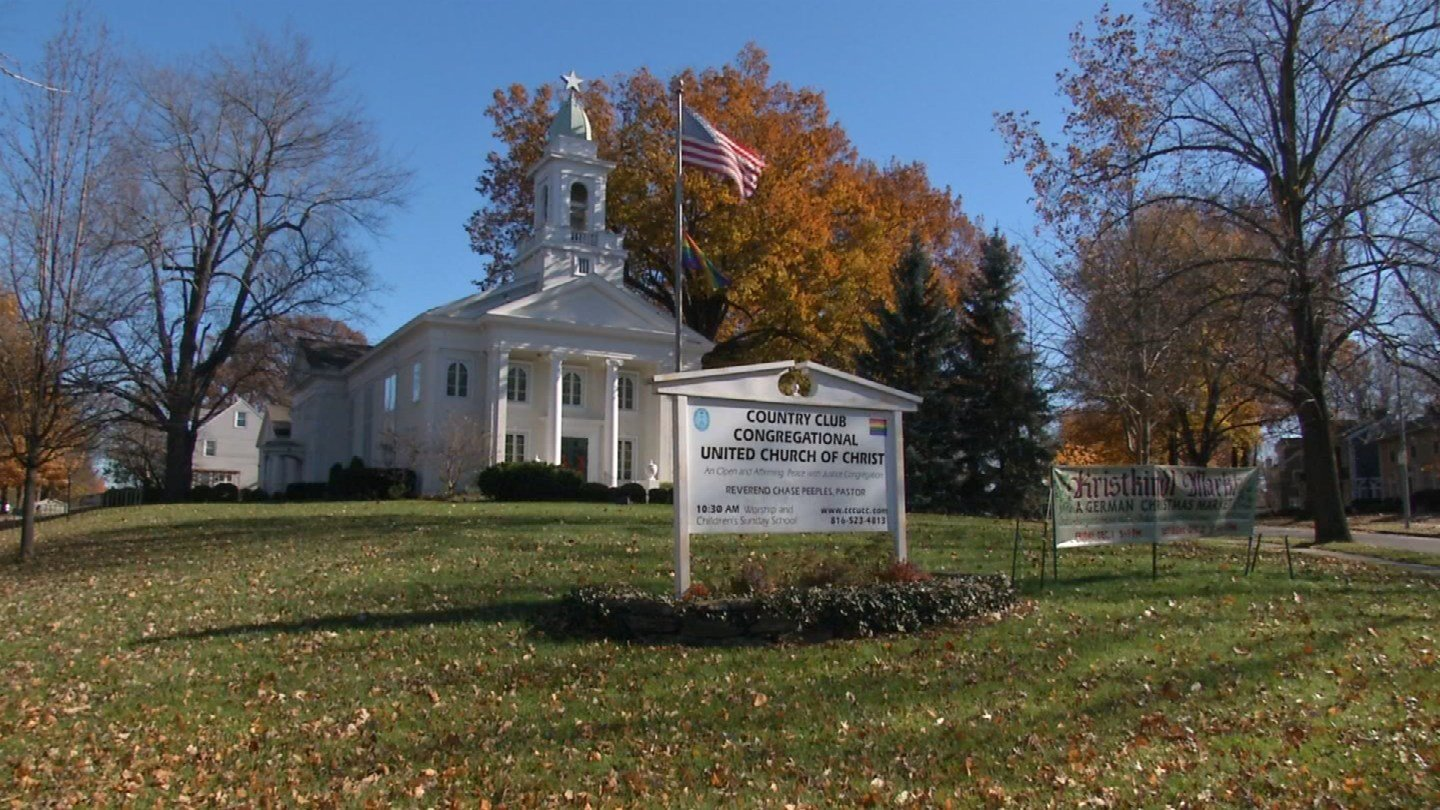 "The Country Club Congregational United Church of Christ is dropping ""country club"" from its name, saying the words are too strongly connected with racism and exclusion. And that's not what they're about. (Natalie Davis/KCTV5 News)"