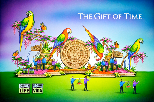 This year's float entry reflects the parade's theme of Making a Difference by celebrating the power of kindness and the generous acts of people throughout the world, who are making a positive difference in the lives of others. (Donate Life)