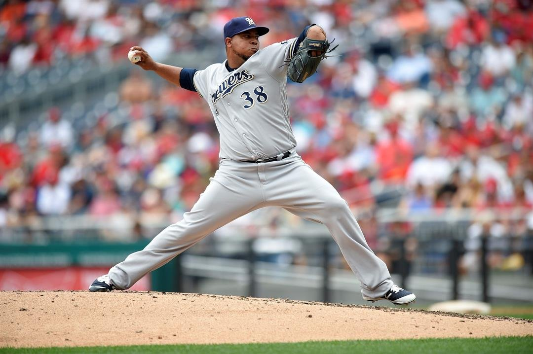 Milwaukee Brewers relief pitcher Wily Peralta delivers a pitch during a baseball game against the Washington Nationals, Thursday, July 27, 2017, in Washington. (AP Photo/Nick Wass)