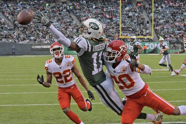 The Chiefs committed a series of penalties in the closing minutes Sunday that gave the Jets every opportunity to score the go-ahead touchdown. (AP)