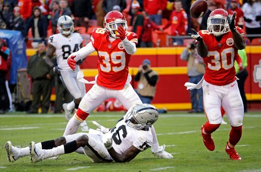 Kansas City Chiefs defensive back Steven Terrell (30) intercepts a pass intended for Oakland Raiders wide receiver Johnny Holton (16). (AP)