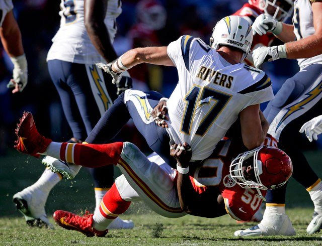 FILE - In this Sept. 24, 2017, file photo, Kansas City Chiefs outside linebacker Justin Houston (50) sacks Los Angeles Chargers quarterback Philip Rivers during the second half of an NFL football game, in Carson, Calif. (AP)