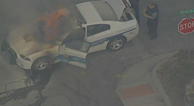 The Wyandotte vehicle could be seen with flames bursting from its windshield. (KCTV5)