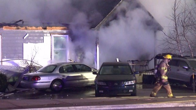 The fire started at about 4:03 a.m. at a house in the 5000 block of Nieman Road. (KCTV5)