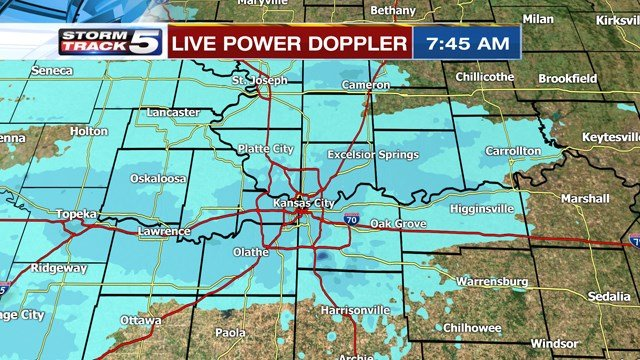 The snow is expected to turn into flurries after noon.Tuesday's high temperature only reaches14 degrees. (KCTV5)