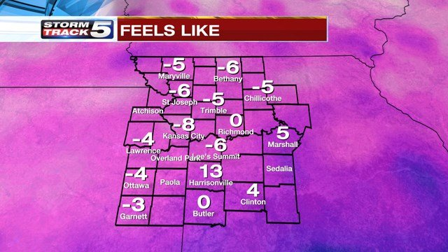 A Wind Chill Advisory has also been issued for counties in northern Missouri until 10 a.m. on Wednesday. (KCTV5)