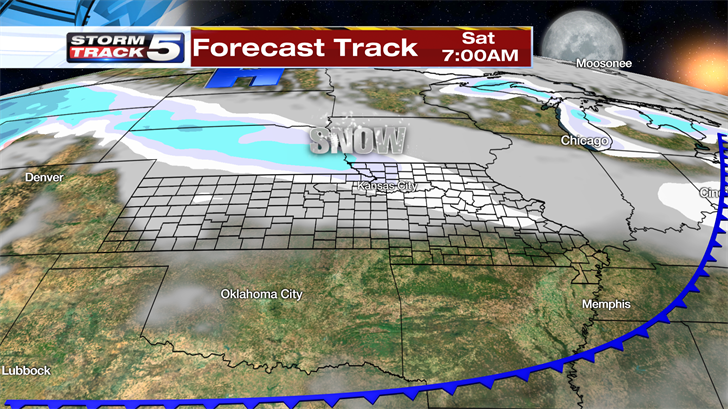 The Arctic air over southern Canada moves our way Friday night.  A cold front moves through early Saturday and behind the front we are looking at an area of snow developing and spreading out across our region. (KCTV5)