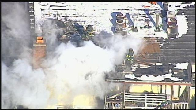 The three-alarm fire started just before 11 a.m. Wednesday. (Chopper5)