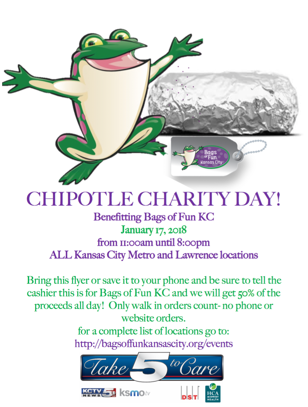 Bring this flyer or show it on your phone and be sure tell your cashier at any Kansas City or Lawrence Chipotle. (Chipolte)