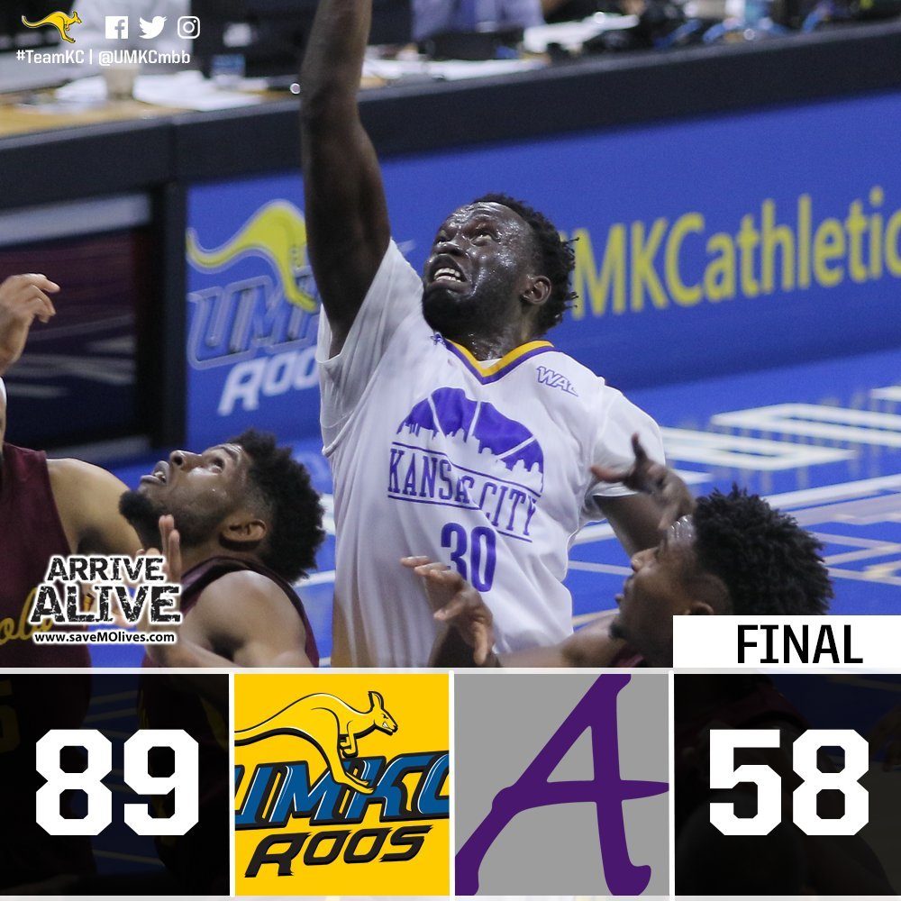 Isaiah Ross scored 20 points to lead five players into double-figure scoring and UMKC cruised to an 89-58 win over NAIA hometown rival Avila on Thursday night. (UMKC Basketball/Twitter)