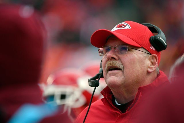 Kansas City Chiefs head coach Andy Reid follows the second half of an NFL football game against the Miami Dolphins in Kansas City, Mo., Sunday, Dec. 24, 2017. (AP Photo/Ed Zurga)
