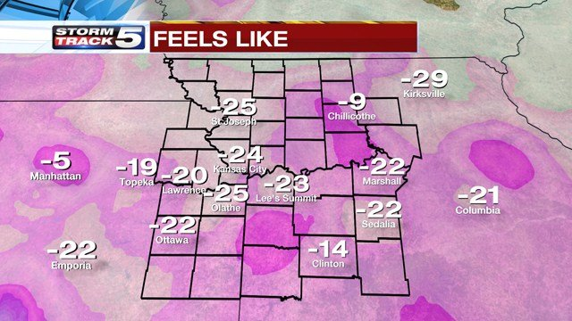 A Wind Chill Warning has been issued for the Kansas City area until noon on Monday. A Wind Chill Advisory will take effect at noon and will last until noon on Tuesday. (KCTV5)