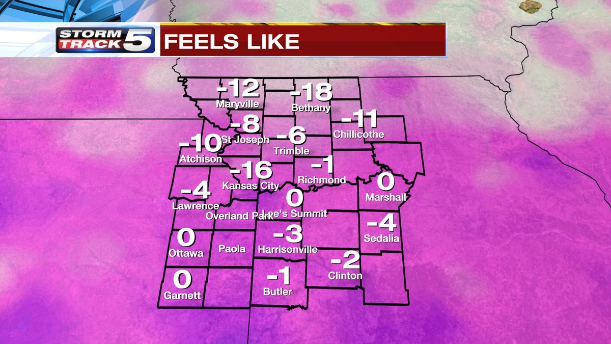 Bitterly cold air remains locked in place for the first part of Tuesday. (KCTV5)