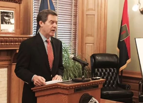 GOP Gov. Sam Brownback planned to deliver the annual State of the State address Tuesday evening and lay out budget proposals Wednesday. (AP File Photo)