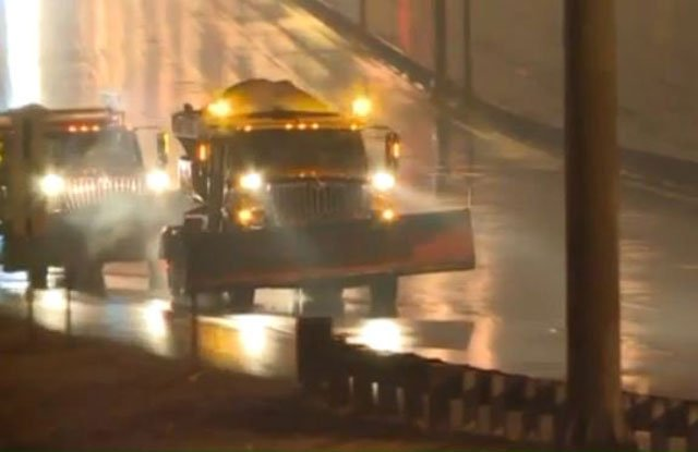 There were 200 dump trucks out salting roads Thursday morning. Now, crews are in the monitoring phase and only salting areas as needed. (MoDOT Kansas City/Twitter)
