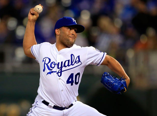 Kansas City Royals relief pitcher Kelvin Herrera during a baseball game against the Detroit Tigers at Kauffman Stadium in Kansas City, Mo., Tuesday, Sept. 26, 2017. (AP Photo/Orlin Wagner)
